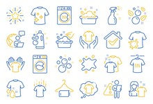 Laundry Line Icons. Dryer, Washing Machine And Dirt Shirt. Laundromat, Hand Washing, Soap Bubbles In Basin Icons. Dry T-shirt, Laundry Service, Dirty Smudge Spot. Clean Clothes. Line Icon Set. Vector