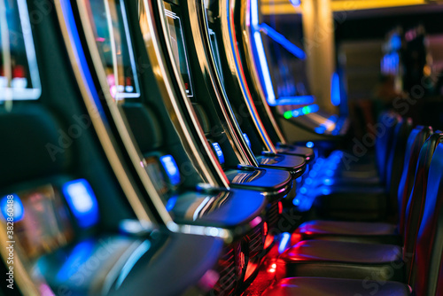 close up background of slot machine in casino club entertainment  leisure concep Fototapet
