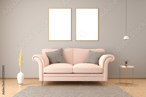 Fototapeta Elegant interior setting with sofa, side table, ceiling lamp, carpet and a vase with pampas grass. Mockup with two empty frames in 70 by 100 cm - 3d render. obraz