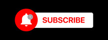 Youtube Subscribe Button Lower Third. Social Media Vector Element On Black Background