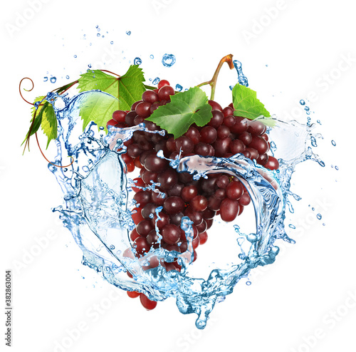 Grape cluster with water splash on white background Wallpaper Mural
