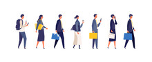 Walking Businessman Character Design In Different Poses.