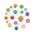 Social chain flat illustration, social teamwork