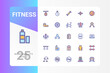 Fitness icon pack for your web site design, logo, app, UI. Vector graphics illustration and editable stroke. EPS 10.