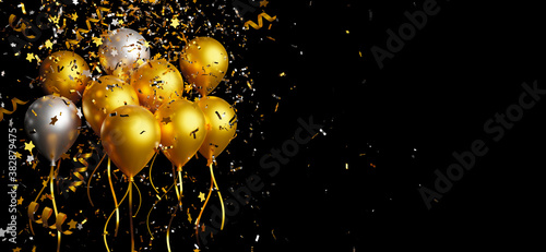 Fotomural Gold and silver balloon with foil confetti falling on black background 3d render