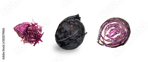 Photo Whole red or purple cabbage isolated on white background