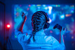 canvas print picture - Close-up view from back of emotional gamer girl playing video game at home in front of big screen with joystick and headphone. Colorful neon led lights background. Streamer concept.