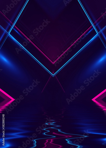 Obraz Abstract dark futuristic background. Ultraviolet neon light rays are reflected off the water. Background of empty stage show, beach party. 3d illustration - fototapety do salonu