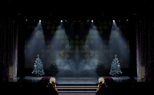 Theater Before The Performance Of Artists. Bright Colored Light And Scene With Christmas Trees.