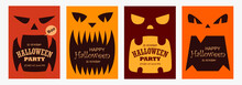 Set Of Scary Banners For Halloween. Templates For Posters, Cards, Flyers, Brochures. Monsters, Pumpkins, Fangs. Flat Design.  Space For Text. Vector Illustration