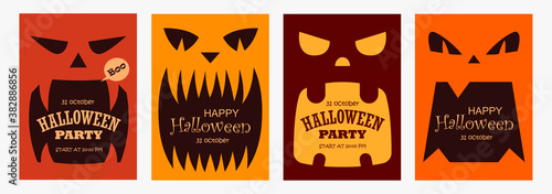 Set of scary banners for Halloween Canvas Print