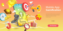 Mobile App Gamification, Interactive Content For Audience Engaging, Encouraging Customers To Earn Rewards. 3D Vector Conceptual Illustration.