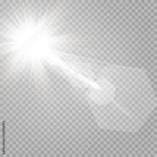 Fototapeta Abstract transparent sunlight special lens flare light effect. Vector blur in motion glow glare. Isolated transparent background. Decor element. Horizontal star burst rays and spotlight.  obraz na płótnie