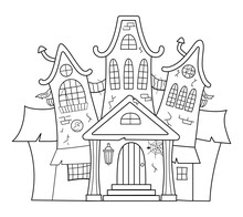 Vector Haunted House Black And...