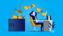 Businessman Getting Paid - Man Sitting In Front Of Desk While Money Pouring Out Of His Computer And In To His Wallet. Earning Money On Internet, Online Hustle And Passive Income Concept. Vector Format