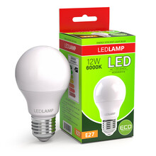 Led Lamp With Package Box Isolated On White. Energy Efficient Light Bulb.