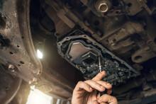 CVT Gearbox Close Up, Worker H...