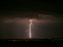 Eerie Scenery Of Lightning Str...