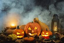 Jack O Lanterns On A Foggy Bac...