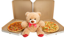 A Teddy Bear With Two Pizzas
