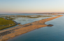 Aerial View Of Sandbank Facing The Isle Of Wight And Hurst Castle, UK.