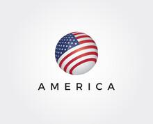 Minimal America Logo Template - Vector Illustration