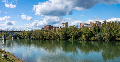 Panorama of the river and city skyline of Fairmont in WV taken from the Palantin Wallpaper Mural