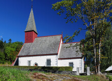 Picturesque Little Stone Chapel Dale Kirke At Dalsfjord On A Sunny Summer Day With A Clear Blue Cloudless Sky