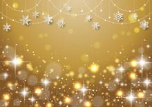 雪の結晶がぶら下がった キラキラ イルミネーションのクリスマス背景 フレーム 金