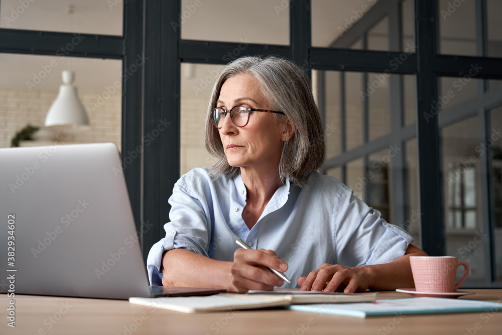 Fototapeta Serious mature older adult woman watching training webinar on laptop working from home or in office. 60s middle aged businesswoman taking notes while using computer technology sitting at table.