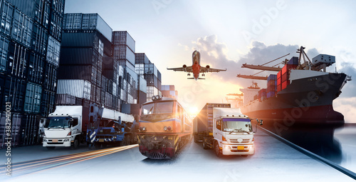 Leinwand Poster Global business of Container Cargo freight train for Business logistics concept,