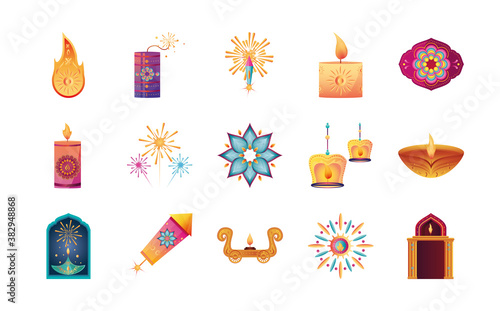 Fototapeta set of icons for india festival of lights on white background
