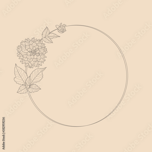 Fotografija Circle frame of Dahlia Flowers and Branches