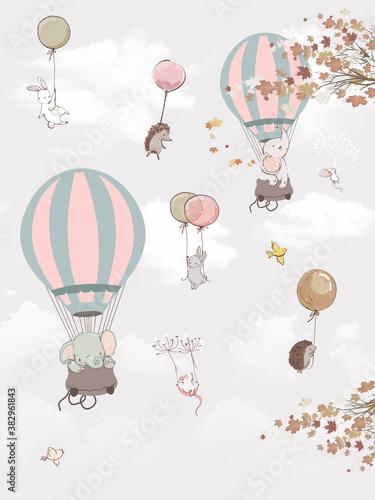fototapeta-dla-dzieci-zwierzeta-na-balonach
