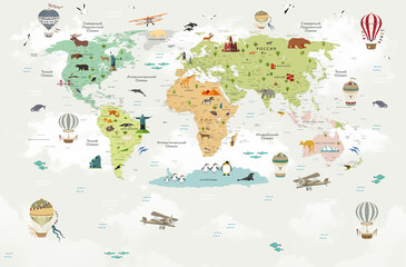 Children's world map, world map for children with animals