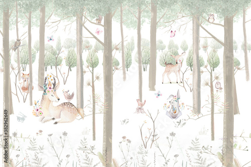 children's drawing, watercolor drawing, forest, painted animals