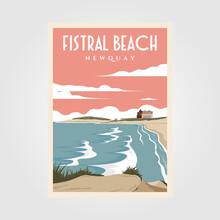 Fistral Beach Vintage Poster Illustration Design, Beach Poster Design