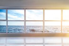 View On Beautiful Sea Through Big Metal-plastic Window