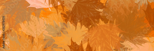 abstract vintage colorful watercolor autumn fall leaves leaf maple orange yellow Fototapet