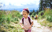 Portrait Of Small Toddler Girl Outdoors In Summer Nature, Walking.