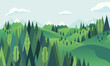hill landscape with mountainous and forest scenery vector illustration