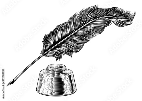 A quill feather antique pen and ink well in a retro vintage engraved or etched woodcut print style.