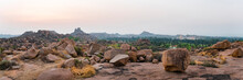 Rocky Landscape At Sunrise In Hampi In Hampi Island. Travel, Adventure, Landscape, India, Karnataka.