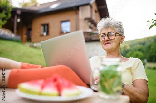 Fotografie, Obraz Happy senior woman with laptop working outdoors in garden, home office concept