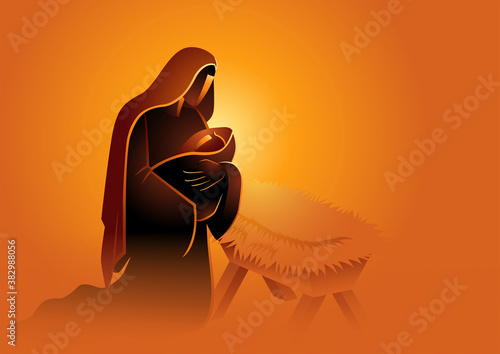 Stampa su Tela Biblical vector illustration series, Mary holding baby Jesus
