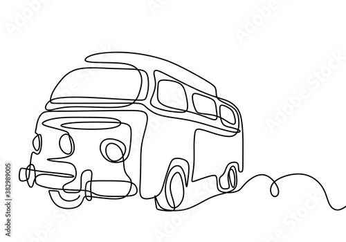 Photo Camper continuous line drawing