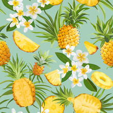 Pineapple And Tropical Flowers Seamless Pattern, Vector Fashion Exotic Background, Plumeria Fruits Texture