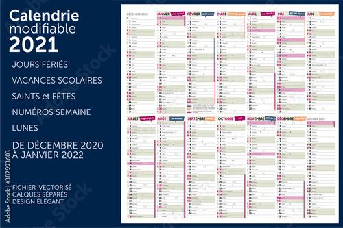 Photo calendrier 2021 avec 14 mois modifiables avec les jours fériés, numéros semaines, vacances scolaires, les lunes