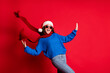 Leinwandbild Motiv Portrait of her she nice attractive pretty glad cheerful cheery girl wearing festal casual look having fun dancing celebrating occasion newyear isolated bright vivid shine vibrant red color background