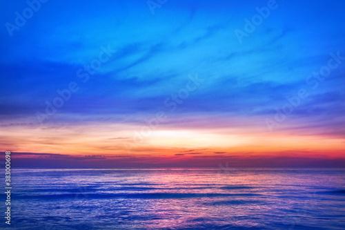 Beautiful pink sunset, blue sky, purple sea background, blurred watercolor sunrise, quiet ocean beach landscape, peaceful morning seascape, idyllic dawn nature, calm soft dusk & gentle sun light glow